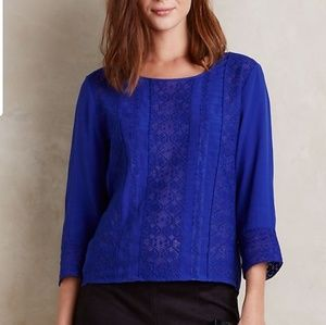 Anthropologie Meadow Rue Blue Lace Blouse Large